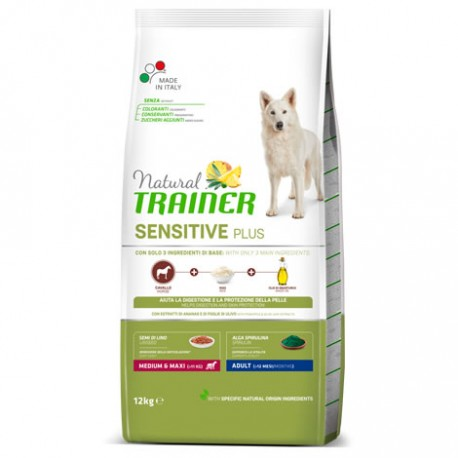NATURAL TRAINER SENSITIVE PLUS ADULT MED. & MAX. CABALLO Y ARROZ