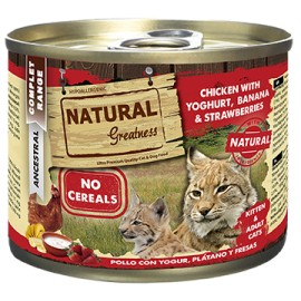 NATURAL GREATNESS POLLO CON YOGUR, PLATANO Y FRESAS (KITTEN & ADULT CATS)